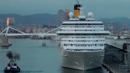 Spain Barcelona 085 pilot boat and cruise ship makes smoke ビデオ