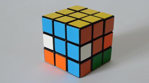 Puzzle Cube Solves Itself Footage