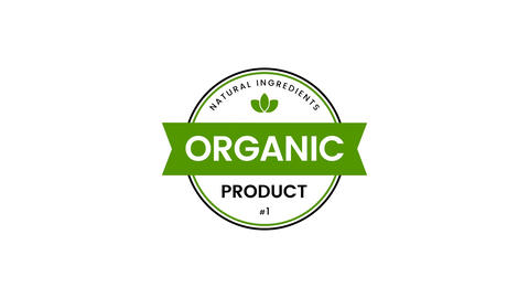 Organic product green badge Animation