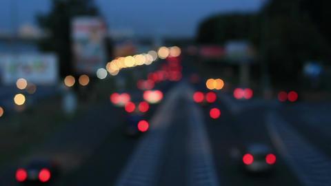 Defocused night traffic lights 9 Footage
