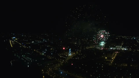 Aerial fireworks during the celebration of Victory Day Footage