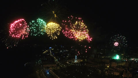 Aerial fireworks during the celebration of Victory Day Live Action
