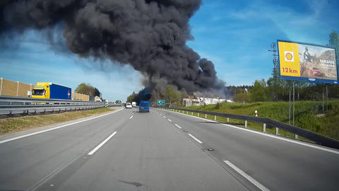 Tyre Warehouse in Fire Footage
