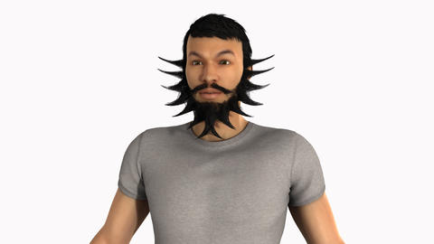 Different beards grows on a man's face, loop, animation, Alpha channel Animation