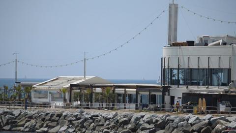 Restaurant On The Pier Near The Beach Footage