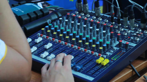 Backside View Operator Work at Sound Control Panel Footage