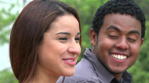 Man Laughing At Woman Telling Joke Footage