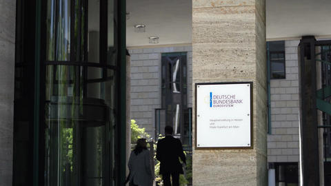 Deutsche Bundesbank Front Entrance and Sign in Frankfurt Germany Footage