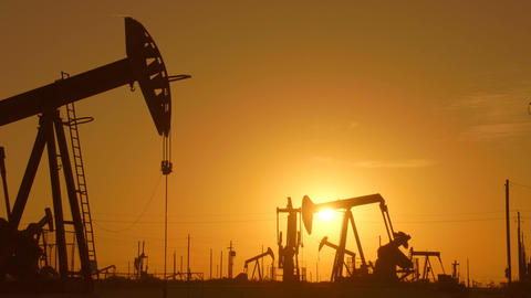 Large Oil Field At Sunrise Footage