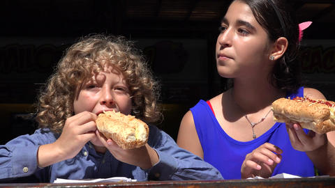 Siblings Eating Hot Dog Lunch Footage