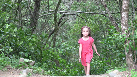 Toddler Girl Walking In Forest Live Action