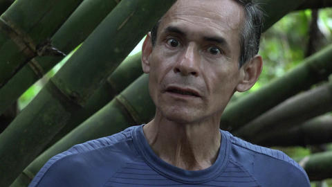 Fearful Man Lost in Jungle Footage