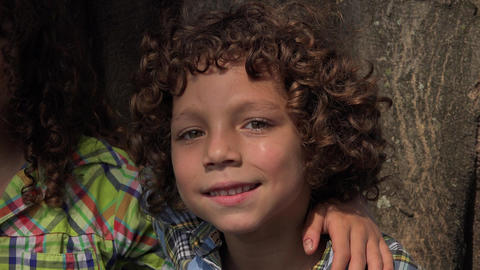 Silly Boy with Curly Hair Footage