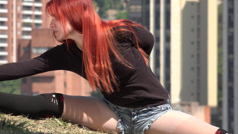Young Flexible Female Stretching Footage