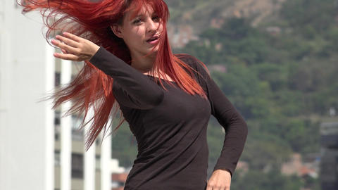 Young Redheaded Teen Female Dancing Live Action