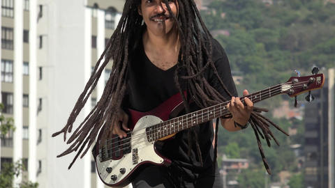 African Guitarist With Dreadlocks Live Action