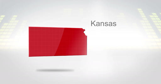 Motion Graphics 3D animation of the american state of Kansas Animation