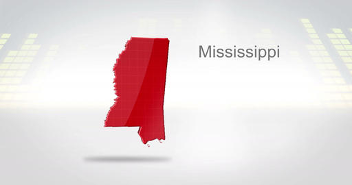 Motion Graphics 3D animation of the american state of Mississippi Animation