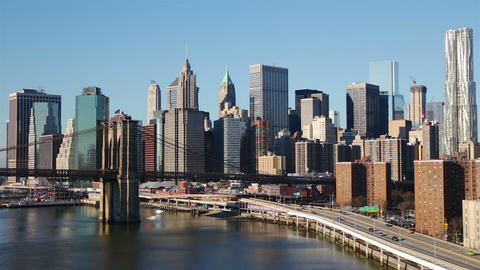 Sunny Cloudless Morning over Manhattan Footage