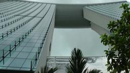Singapore 034 Marina Bay Sands skypark against cloudy sky Footage