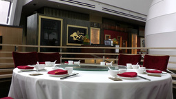 Singapore 048 table in restaurant of hotel prepared for dinner Footage