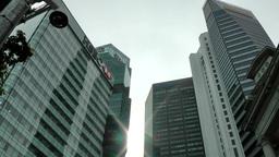 Singapore 051 sunbeams between downtown skyscrapers Footage