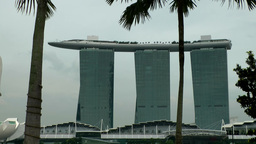 Singapore 056 long shot of Marina Bay Sands skypark luxury hotel Footage