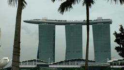 Singapore 056 long shot of Marina Bay Sands skypark luxury hotel Footage