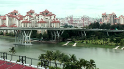 Singapore 013 Modern Buildings And A Bridge Over River stock footage