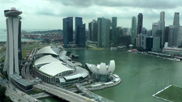 Singapore 022 Marina Bay Sands Skypark and skyline from above ferris wheel Footage