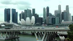 Singapore 031 downtown skyline and motorway bridge Footage