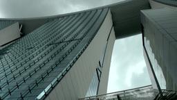 Singapore 032 Marina Bay Sands skypark against cloudy sky Footage