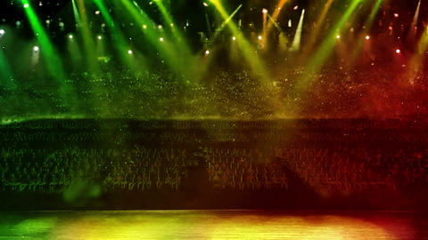 concert stage green spotlight Stock Video Footage