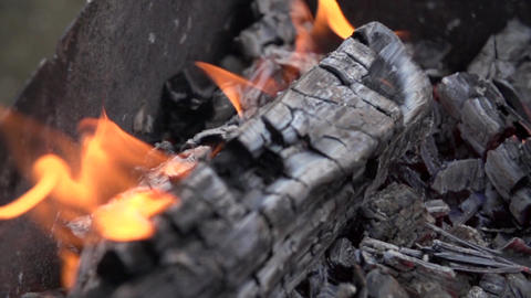Close-up bonfire burning slow motion, Live Action