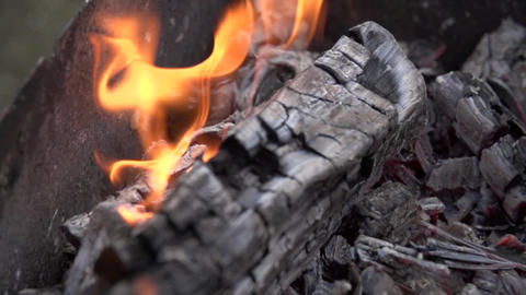 Close-up bonfire burning slow motion Footage