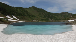 Mountains and Blue Lake on Kamchatka Peninsula. Russia, Far East Footage
