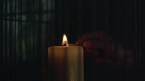 Lighting a candle with match in slow motion ビデオ