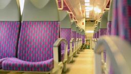 train - interior - seats - door in the background Footage