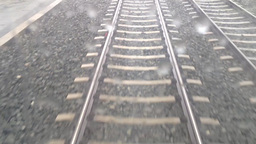 tram or train - railway line (track or rail) - stones - road and pavement - move Footage