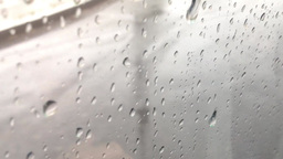 background - water drops on the window - road(asphalt) with lines - moving (driv Footage
