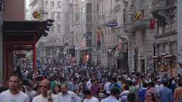 Crowds In Golden Horn Shopping Street,Istanbul,Turkey stock footage