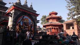 Devotees fro Shiva Hindu god on Durbar square,Kathmandu,Nepal Footage