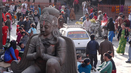 Durbar square statue with people passing ,Kathmandu,Nepal Footage