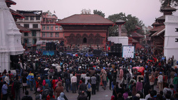A band plays music on Durbar square,Kathmandu,Nepal Footage