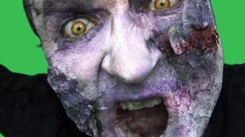 Green Screen Zombie Shout stock footage