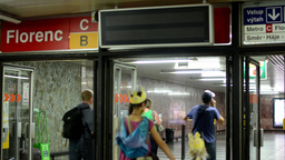 entrance to the subway - notice board (panel) - people Footage
