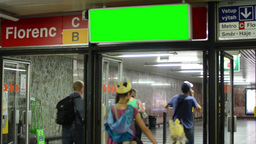 entrance to the subway - notice board (panel) - green screen - people Footage