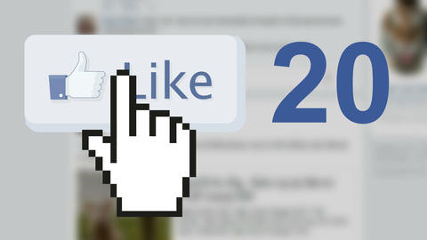 Facebook social media like 'likes' button number counter with hand cursor 이미지
