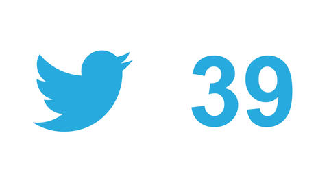 "Twitter social media message button and like, ""tweets"" retweets number counter Live Action"
