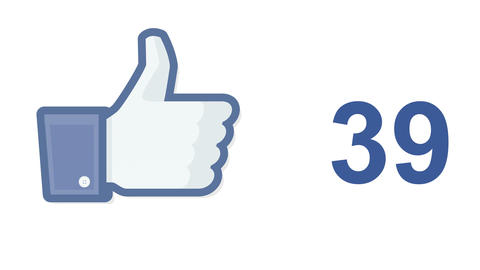 Facebook social media like 'likes' button number counter Live Action